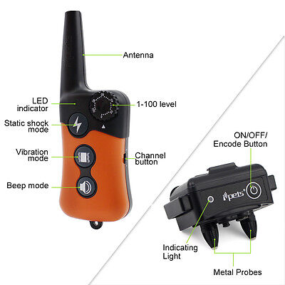 Ipets 900ft Remote Dog Shock Collar Dog Training Collar Rechargeable Waterproof