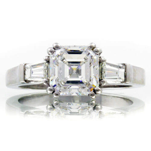 GIA Certified Platinum Diamond Engagement Ring 2.60 CT Asscher & Baguette Cut