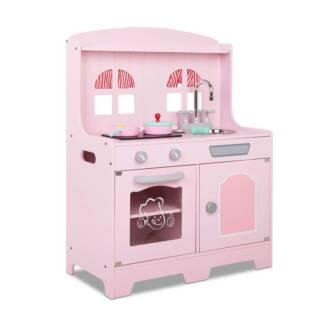 Kids Wooden Kitchen Playset Pink