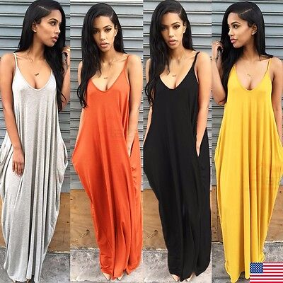 Womens Ladies Summer Beach Sundress Boho Evening Party Cocktail Long Maxi Dress