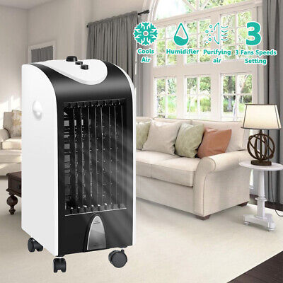 Portable Mobile Air Cooler Unit 4L Ice Water Fan Humidifier Conditioner Ioniser