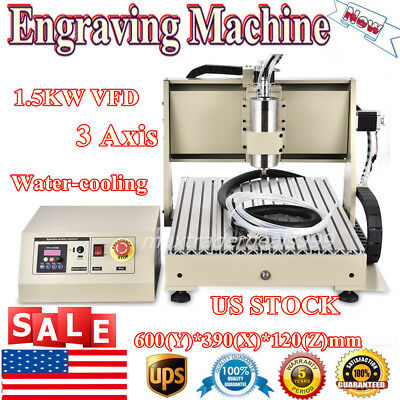 6040 3-axis Router Engraver Milling Engraving Drilling Machine 1500w Vfd Us Ship