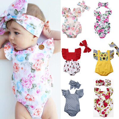 US Newborn Baby Girl Flower Ruffle Romper Jumpsuit Bodysuit Grows Outfit Clothes
