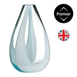 Large Turquoise Glass Vase With White Cleart Art Glass Design - BRAND NEW