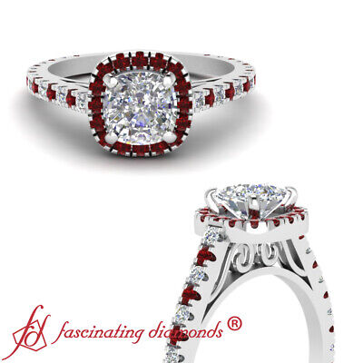 1.30 Ct Cushion Cut:Very Good Diamond & Red Ruby Engagement Ring Pave Set GIA