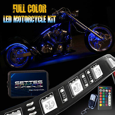 10pcs Multi-Color LED Glow Motorcycle Neon Strip Light with Remote Controller
