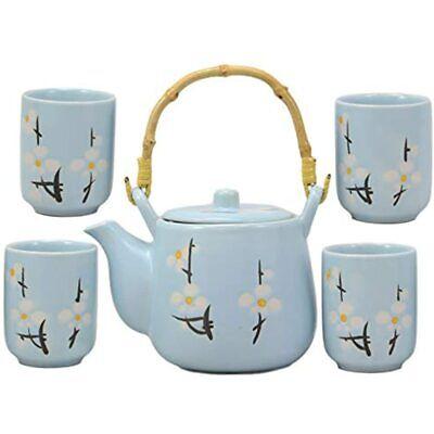 Ebros Gift Japanese Sakura Pastel Sky Blue Cherry Blossom Design Porcelain 20oz