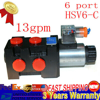 Hydraulic Solenoid Selectordiverter Valve 13 Gpm 12v Dc 6 Ports With 10 Sae