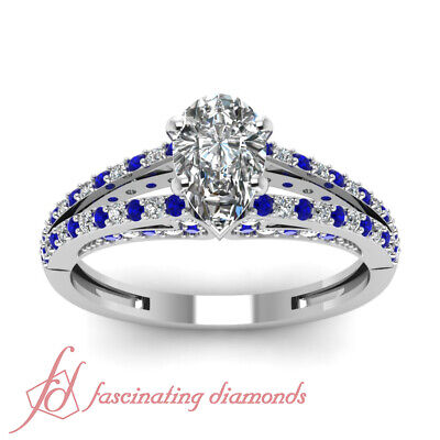 .85 Ct Pear Shaped Diamond And Sapphire Split Band Womens Engagement Rings GIA 2
