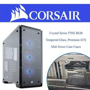 NEW Corsair Crystal Series 570X RGB - Tempered Glass, Premium ATX Mid-Tower Case Cases CC-9011098-WW Condtion: New, M...