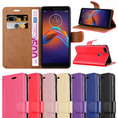For Motorola Moto E6 Play Phone Case Leather Wallet Book Folio Stand View Pouch