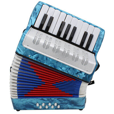 Blue Accordion 17-Key 8 Bass Beginner Musical Model Toys For B3D4