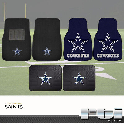 Dallas Cowboys NFL 2-Pc & 4-Pc Carpet Front Vinyl Rear Floor Car Truck Mat Sets