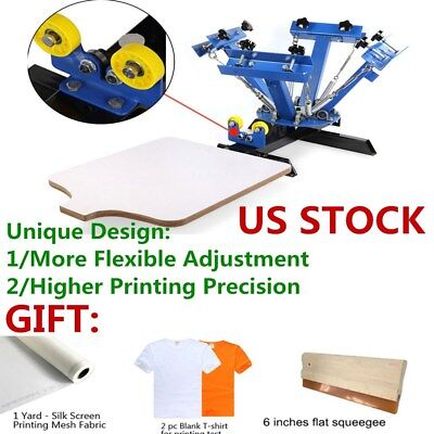 Usa 4 Color 1 Station Screen Printing Press Machine Silk Screening Pressing Diy