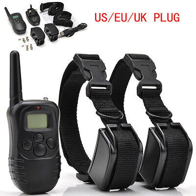 Rechargeable Waterproof LCD 100LV Level Shock Vibra Remote2Dog Training Collar K