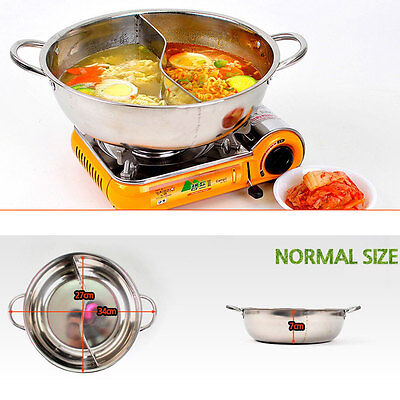 Half Separated Cooking Pot / Stainless Steel Divided Pot / Half & Half STS Pot