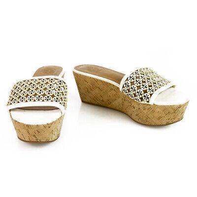 Tory Burch White Leather Monogram Cork Wedge Platform Slides Mules Shoes