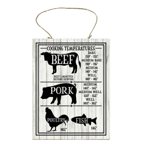 Cooking Temperature Chart Farmhouse Kitchen Printed Handmade Wood Sign