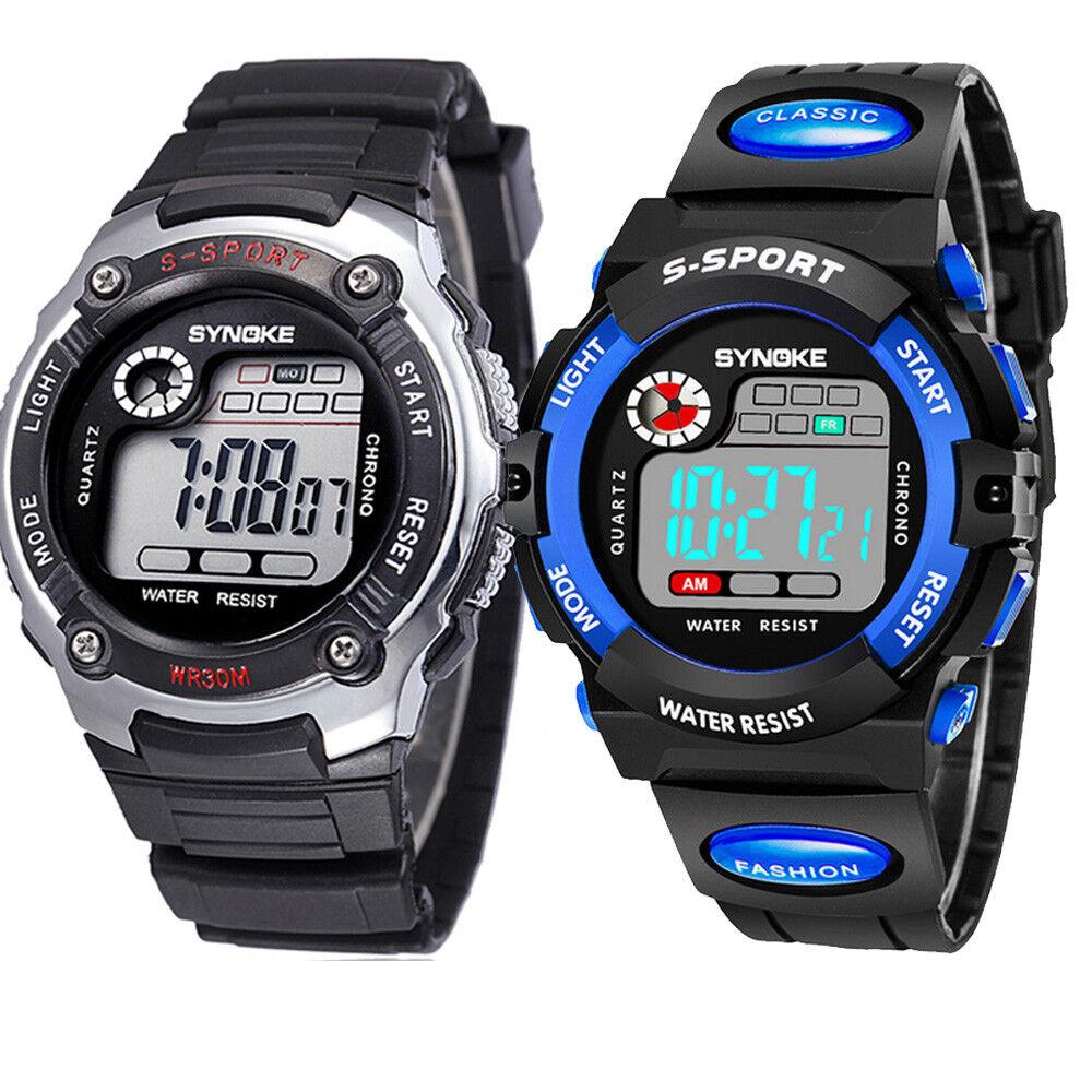 Kids Sports Digital Watch LED Waterproof Watches Xmas Gift f