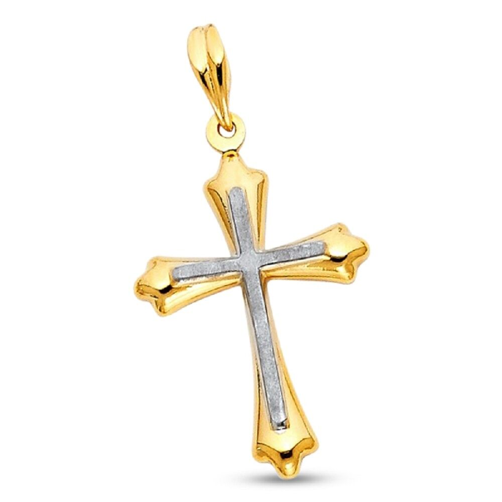 14k Polished Cross Pendant New Religious Charm Yellow Gold