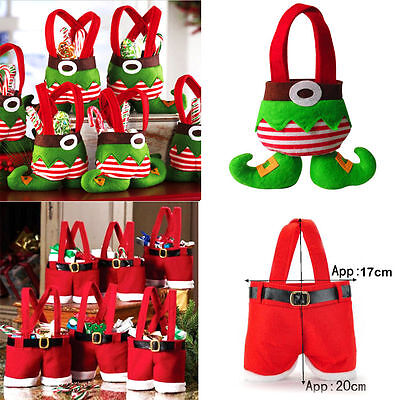 Candy Bags (Fancy Santas Pants Treat Candy Bags Elf Spirit Xmas Party Decor Christmas Lot)