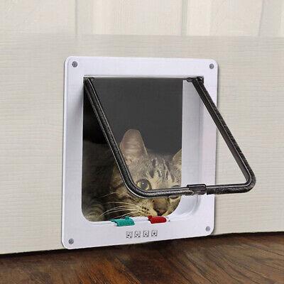 White 4-Way Magnetic Lockable Cat Kitten Dog Pet safe Flap Door Small Medium13lb Cat Small Dog Flap