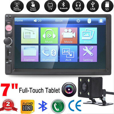 7Inch 2Din Car Mp5 Player Bluetooth Touch Screen Stereo Radio Hd Rear Camera Us