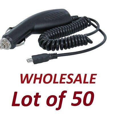 Wholesale Lot of 50 Premium Universal Micro USB Car Chargers - Black (x 50)