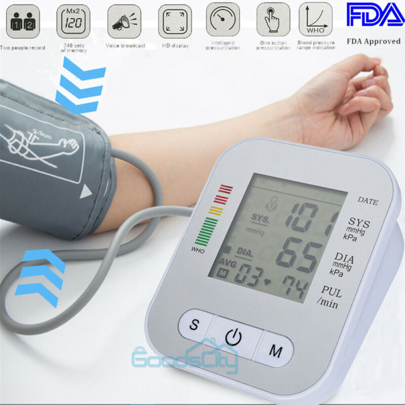 Automatic Upper Arm Blood Pressure Monitor Voice Reading BP Cuff Meter W/ Voice