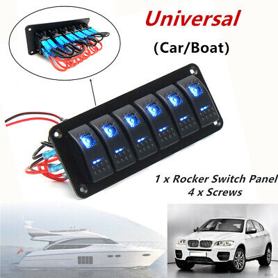 6 Gang Blue Led Rocker Switch Control Panel Circuit Charger Car Marine Stickers