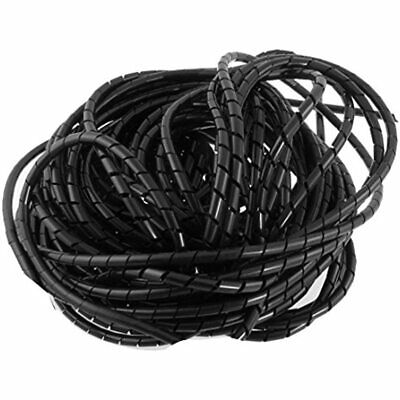21M 68 Ft PE Black Polyethylene Spiral Wire Wrap Tube PC Manage Cable 6mm 1/ 4