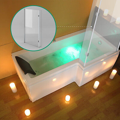 L Shaped Right Hand Whirlpool Bath Shower Spa Jacuzzi Massage Rectangle Bathtub