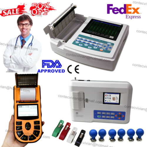 US Seller,Digital 1/3/12-channel 12-lead ECG/EKG Machine electrocardiograph,FDA