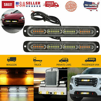 2x Amber White LED Car Truck Emergency Warning Hazard Flash Strobe Light Bar New