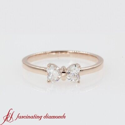 Half Carat 2 Stone Heart Shaped Diamond Bow Design Wedding Ring In 14K Rose Gold