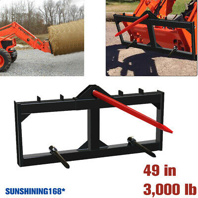 3000lb Hay Bale Spear Skid Steer Tractor Loader Quick Tach Attachment Moving 49