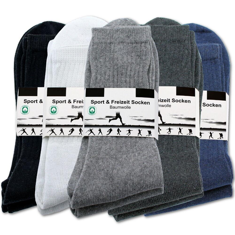 ► TENNISSOCKEN 10-100 Paar Sportsocken Herren Arbeitssocken grau weiß schwarz