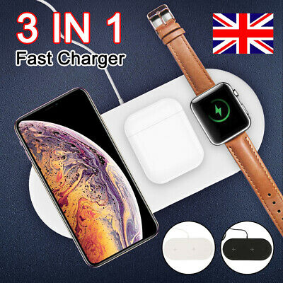 3in1 Qi Wireless Charger For Apple Watch iPhone AirPods Dock Stand Fast Charging