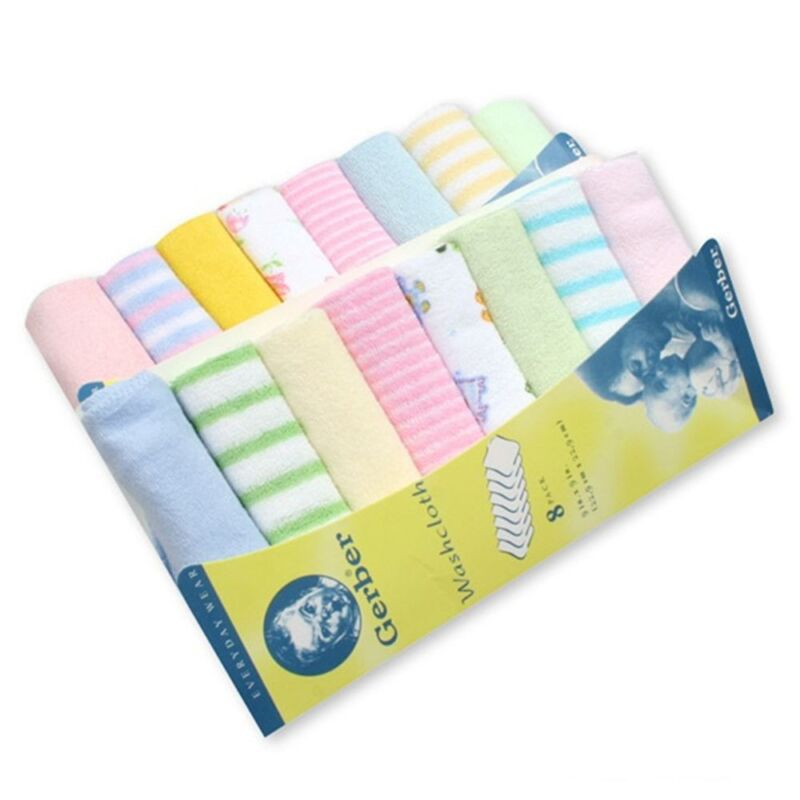 8pcs/Pack Soft Bath Cotton Baby Towels Feeding Wipe Washcloth Infant Towel