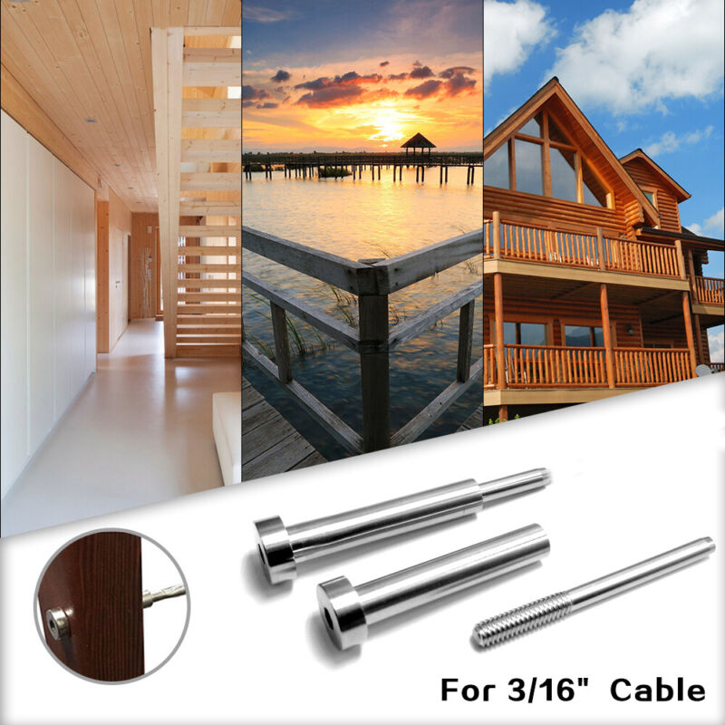 """3/16"""" Cable Railing Stainless Steel Invisible Receiver&Swage Stud End Fitting"""