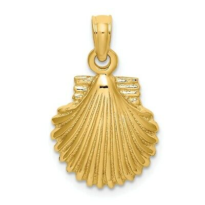 14k 14kt Yellow Gold Polished SCALLOP SHELL Charm PENDANT 13.5 mm X 12.35 mm 14k Scallop Shell Charm