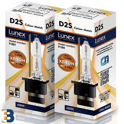 2 x D2S Genuine LUNEX 4300K XENON BULB P32d-2 Original 35W 4300K Colour Match+50