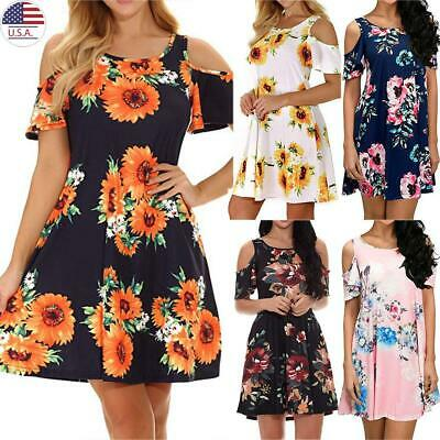 Plus Size Women Cold Shoulder Sundress Ladies Casual Floral Mini Dress Summer