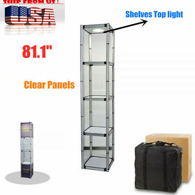 81.1 Square Portable Aluminum Spiral Tower Display Case With Shelves Top Light