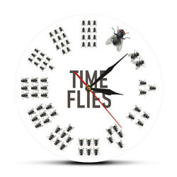 Funny Flies Inspired Time Flies Wall Clock No Numbers Infinite Moments Watch
