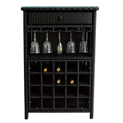 Wine Bar Wicker Storage 20 Bottle Holder Glass Hanger Stemware Rack