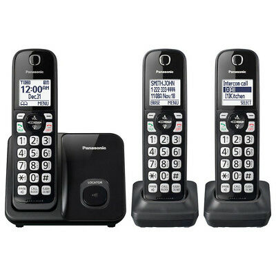 Panasonic KX-TGD513 Expandable Cordless Phone with 3 Handsets, Call Block, Black