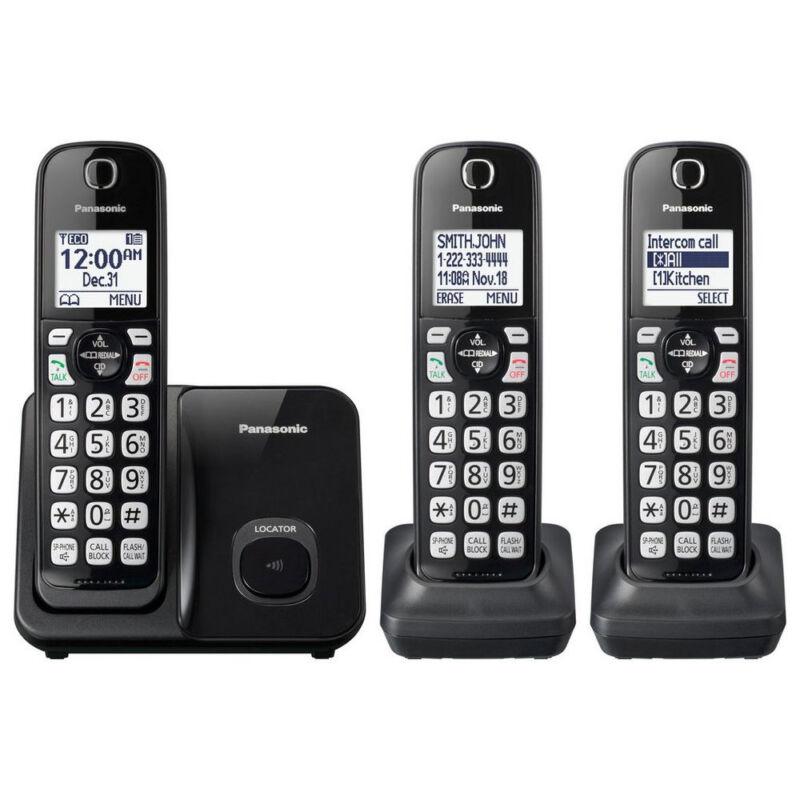 Panasonic KX-TGD513 Expandable Cordless Phone with 3 Handsets, Call Block, Black