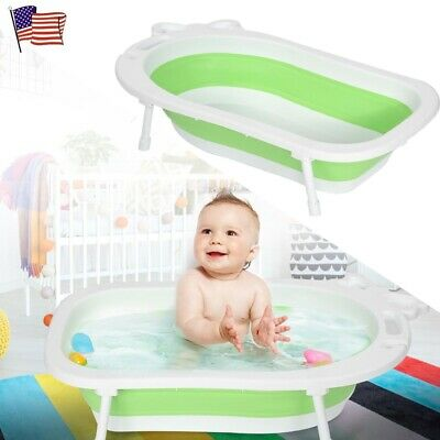 Folding Baby Bathtub Collapsible Infant Children Bathroom Shower Basin