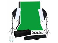 Lighting and backdrop kit. Used twice. Pick up or drop off (weekends only)